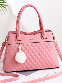 Plush Ball Decor Rhombus Design Ladies Handbag