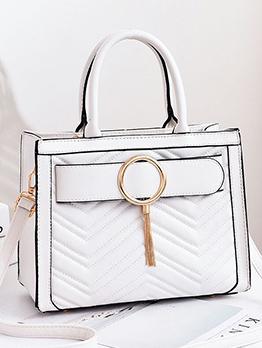 Metal Circle Tassel Large Capacity Women Handbag