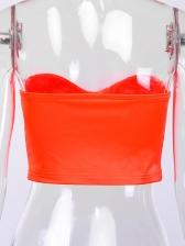 Solid Wrap Chest Satin Fashion Shirt