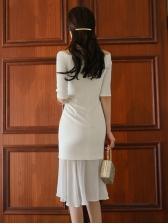 Ol Style Bateau Neck Gauze Patchwork White Dress