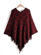 Plaid Tassel Bat Sleeve Knit Sweater