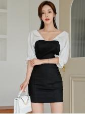 Deep V Neck Backless Contrast Color Bodycon Dress