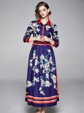 Turndown Neck Floral Blue Maxi Dress