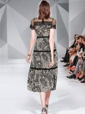 Stand Neck Gauze Patchwork Printed Midi Dress