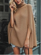 Solid Color Knitting Turtleneck Sweater