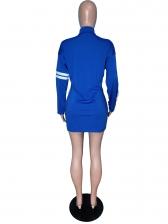 Stand Collar Patchwork Zipper Up Long Sleeve Dress