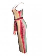 Euro Multicolored Leopard Printed Sleeveless Dress