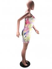Colorful Tie Dye Crossed Belt Bodycon Dress