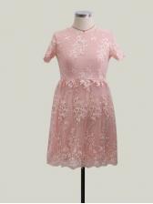 Crew Neck Lace Patchwork Bubble Dress