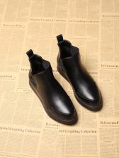 PU Patchwork Round Toe Black Boot