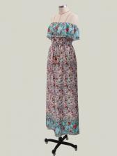 Boat Neck Large Hem Floral Maxi Dress