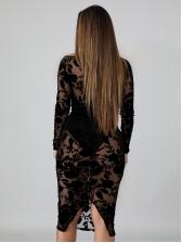 Perspective Flower Deep V Neck Lace Black Dress