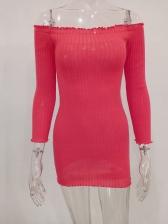 Off Shoulder Stringy Selvedge Long Sleeve Dress