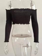 Off Shoulder Stringy Selvedge Long Sleeve Crop T Shirt
