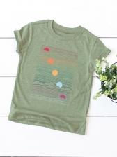 Plus Size Crew Neck Women T-shirt Printing