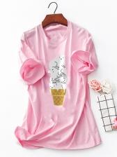 Cute Ice-Cream Printed Plus Size Women T-shirt