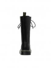 PU Round Toe Tie Up Womens Fashion Boots