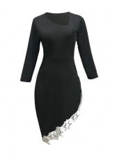 Lace Patchwork Irregular Hem Ladies Dress