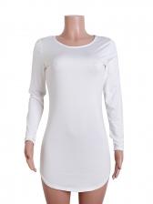 Solid Long Sleeve Irregular Bodycon Dress