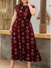 Vocational Short Sleeve Printed Maxi Dresses