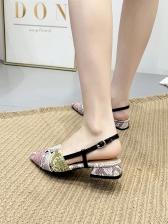 Animal Printed Back Buckle Strap Heel Sandals
