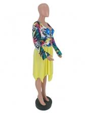 Euro Patchwork v Neck Printed Long Sleeve Dress
