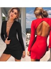 Slim Fit Deep v Backless Long Sleeve Dress