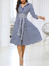 Leisure Striped Button Down Long Sleeve Dress