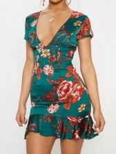 Backless Fishtail Design Ruffle Hem Ladies Dresses