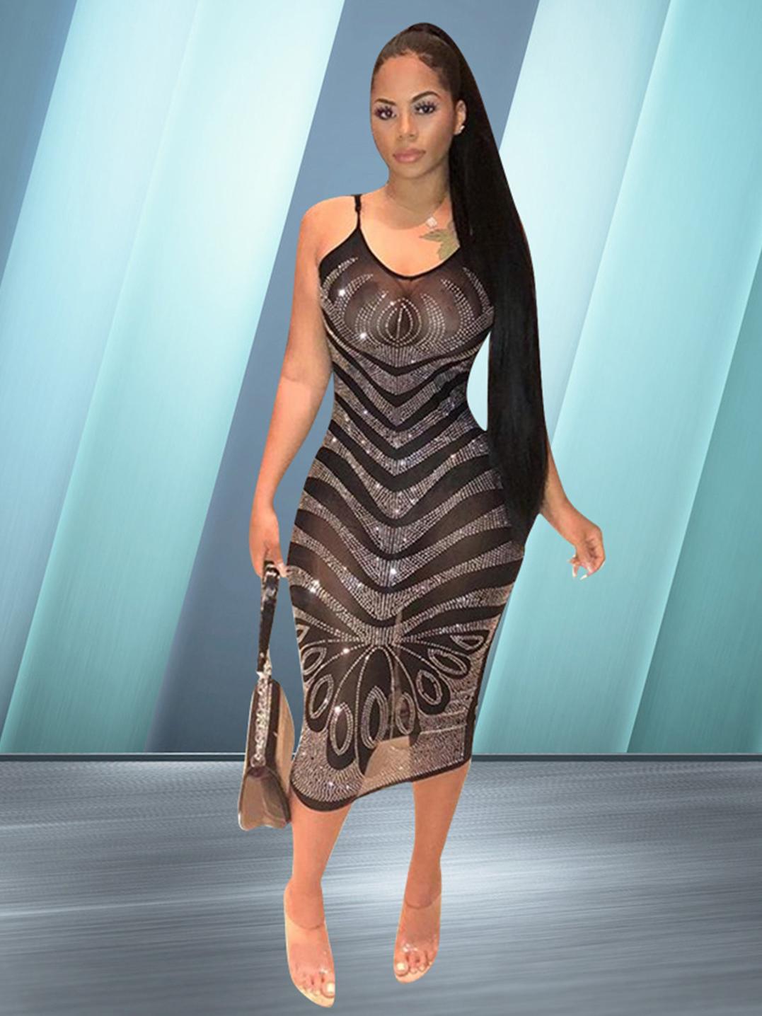 Perspective Sheer Tiny Rhinestone Black Slip Dress