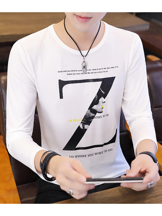 Chic Long Sleeve z Letter Mens t Shirts