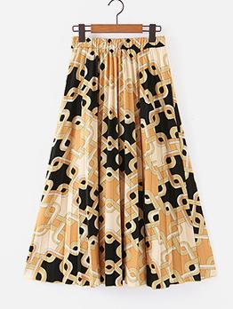 Printed Elastic Waist Maxi Pleated Skirt