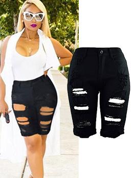 Fashionable High Waist Hole Women Half Pants