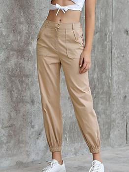 Solid Pockets Elastic Bottom Cargo Long Pant