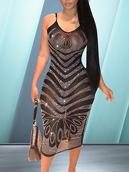 Perspective Sheer Tiny Diamond Black Slip Dress