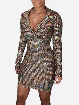 Night Club Lapel Glitter Long Sleeve Dresses
