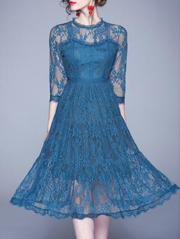 Vintage Gauze Panel Lace A-Line Dress