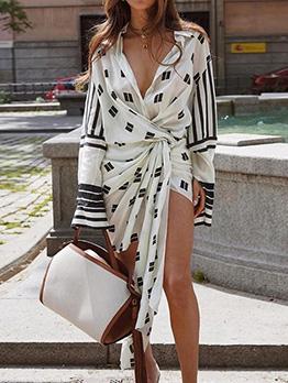 Stylish Irregular Printed Ladies Shirt Dress