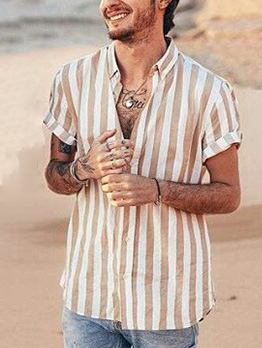 Cozy Striped Short Sleeve Casual Shirts For Men