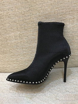 Steel Beading Veined Black Heels Ankle Boots