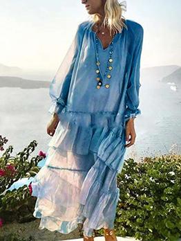Bohemia Style V Neck Ruffled Chiffon Maxi Dress