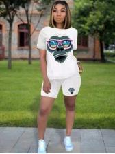 Orangutans Printing Design White 2 Piece Tracksuit