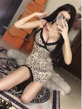 Lace Detail Leopard Printed Strap Dress
