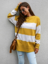 Striped Pleated Knitting Winter Sweater