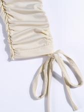 Off Shoulder Draped Drawstring Bodycon Dress