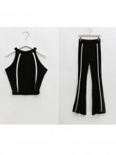 Sport Style Line Patchwork Crop 2 Piece Pants Set
