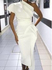Elegant Inclined Shoulder Ruffle Slit Midi Dresses