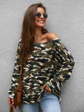 Boat Neck Loose Camouflage Bat Sleeve Knitting Shirt