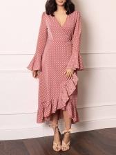 V Neck Flare Sleeve Ruffled Polka Dot Maxi Dress