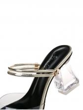 PVC Transparent Chunky Heels Women Slippers